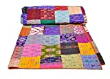 AndExports - Queen Size Multicolored Sari Patchwork Reversible Kantha Quilt, Indian silk sari patola quilt, Recycled Craft,...